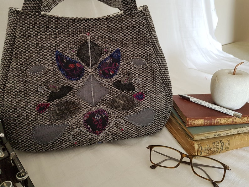 upcycled charcoal grey with symmetrical appliqued design in dark tones Handmade toteshoulder bag ETH002
