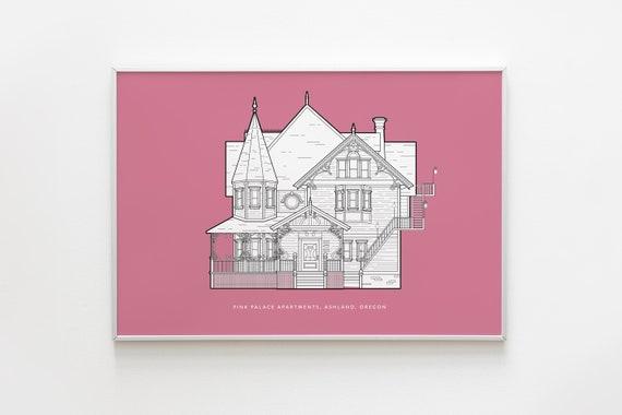 Pink Palace Apartments Coraline Wall Art Art Print Etsy