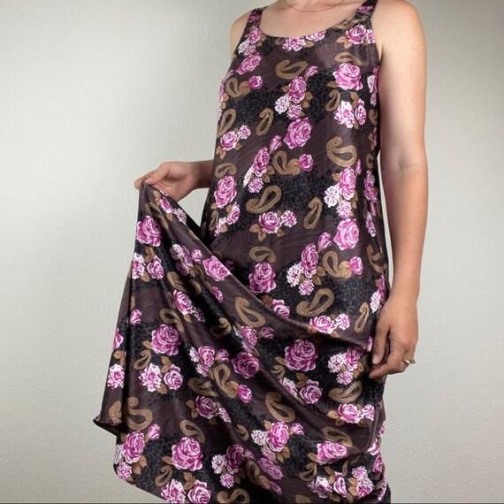 Vintage silk slip floral dress - image 4