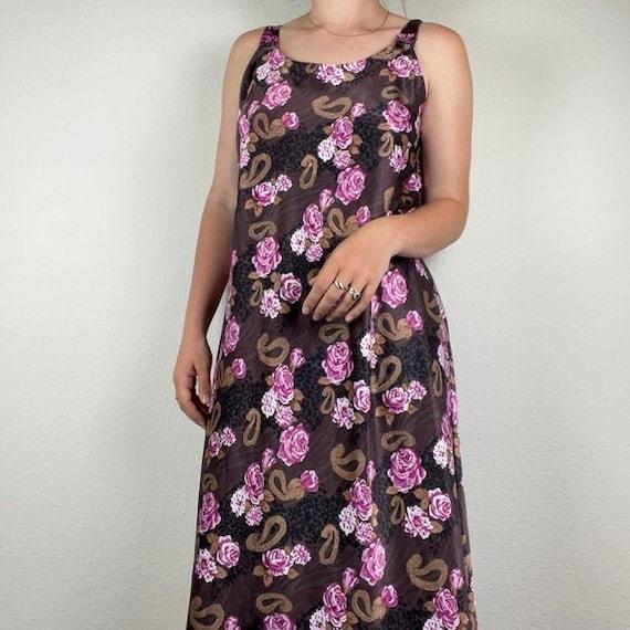 Vintage silk slip floral dress - image 1
