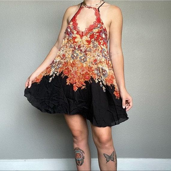 Free People mini beach floral boho hippie dress - image 3