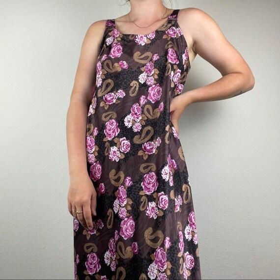 Vintage silk slip floral dress - image 2