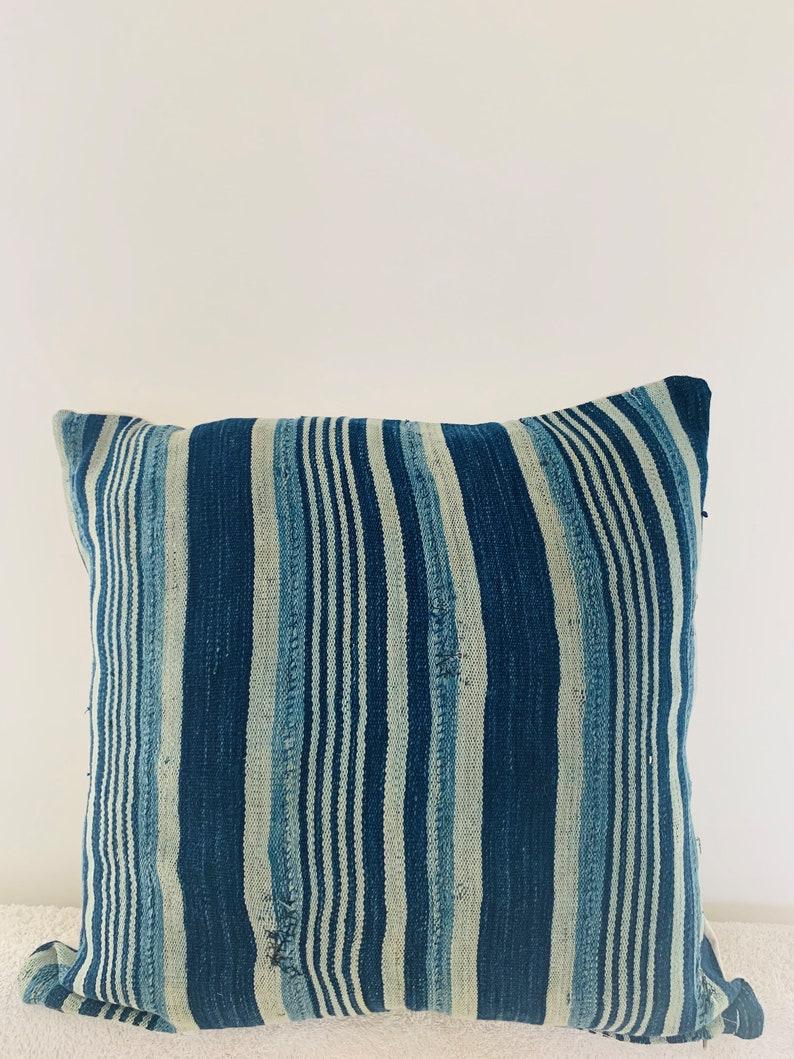 Mud cloth Blue and Multi  Print Stripes 20 x 20 African handmade Mud cloth cushion cover bohemian printed cushion cover tribal