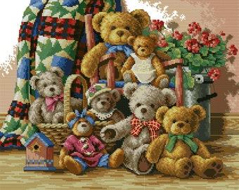 Victorian Teddy Bears Stocking Cross stitch Pattern Christmas Needlepoint stocking pattern Instant download cross stitch chart PDF Pattern