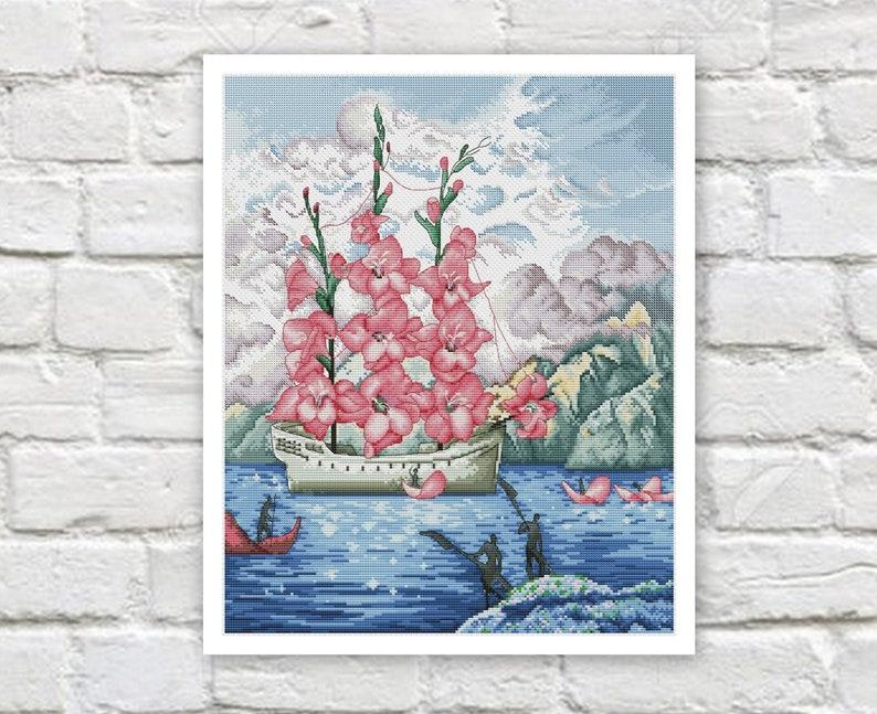Ship  Sailboat Cross Stitch Pattern Colorful Art DIY X-stitch  Needlepoint Pattern Embroidery Chart Printable Instant Download PDF Design