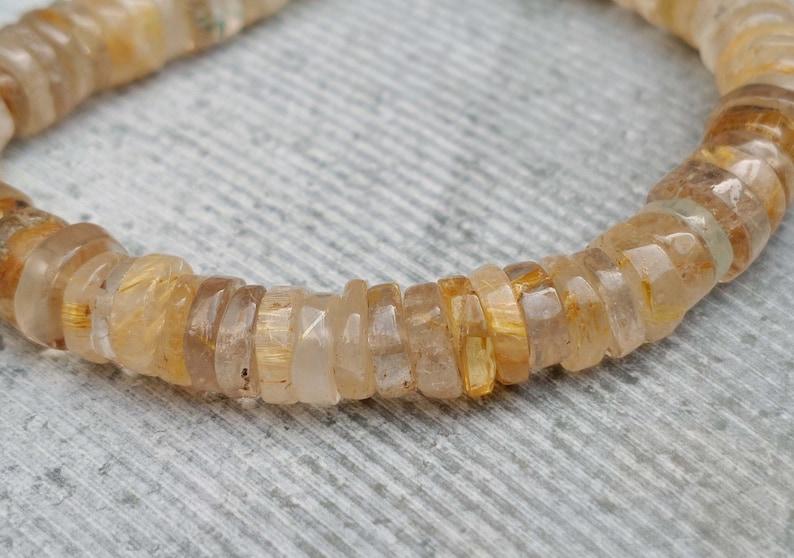Semi Precious Golden Rutile AA Grade Natural Gemstone Beads Full Strand Tire Smooth Beads 7/'/' Inches Gemstone