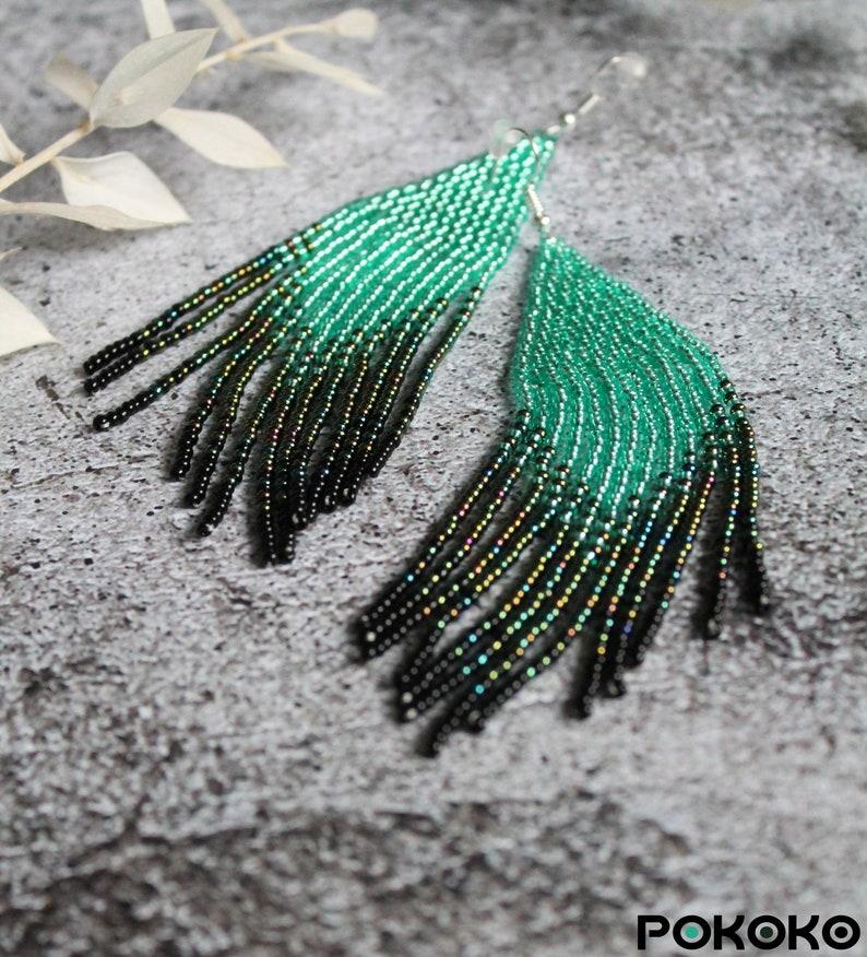 Turquoise shining chic beaded earrings Evening luxury earrings Fringe seed bead earrings Bright beadwork earring Long earrings  Boho jewelry
