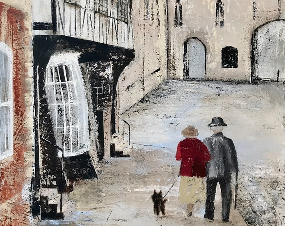 A stroll in Lincoln, a Lincoln Art Print, Lincoln Cathedral UK. a hand embellished print