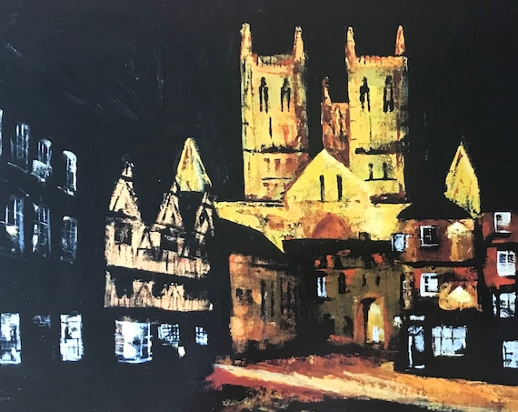 Lincoln, England. Castle Square, Lincoln a hand finished Giclee Print from an original Acrylic painting
