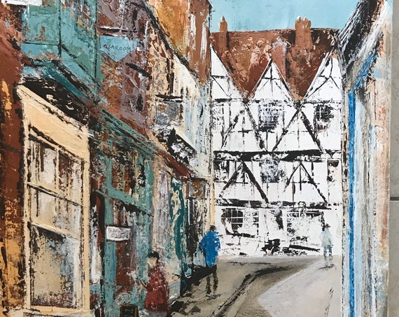 Lincoln, England Art. Steep Hill, Lincoln a giclee print from an original acrylic painting