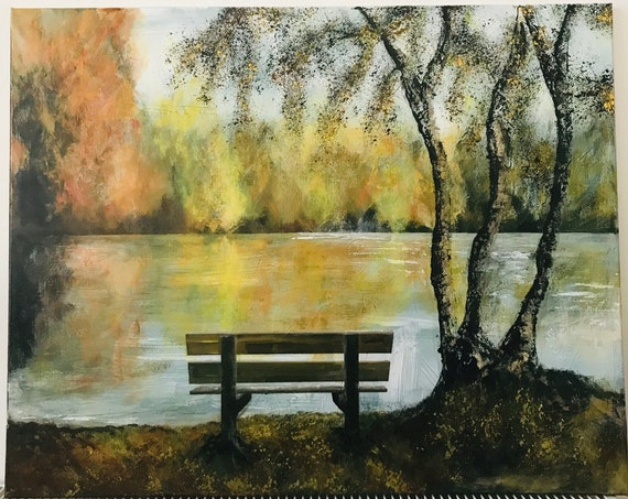 Lincoln, England. Original Acrylic painting Park Bench, Lincoln UK