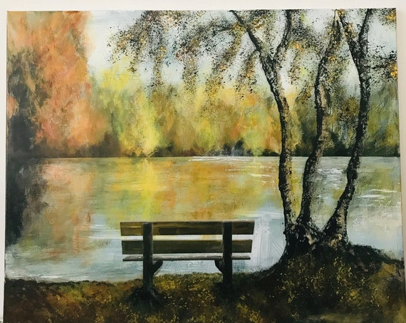 Lincoln, England. Hartsholme Country Park Bench, Lincoln a Giclee Print from an original Acrylic painting