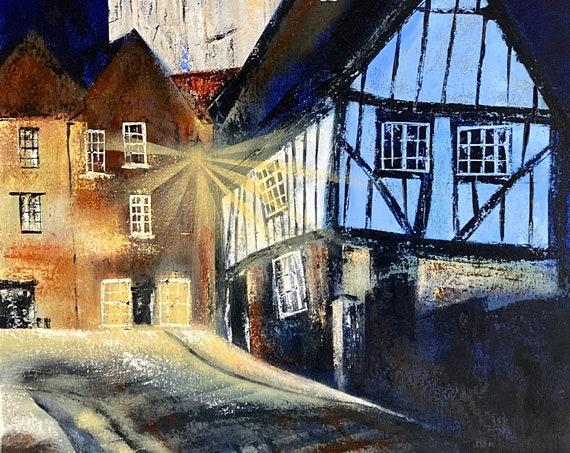 Lamplight, Lincoln Cathedral at Night Print, Lincoln Art Print UK