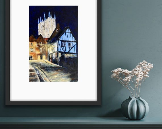 Lamplight, a Lincoln Art Hand Embellished Print Lincoln Cathedral UK