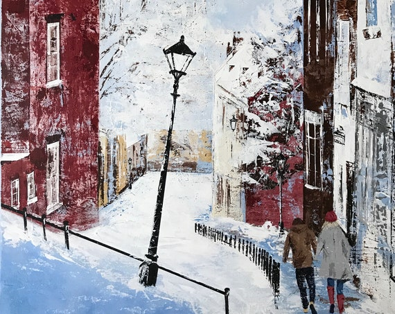 Lincoln Steep Hill Art Print, Hand Finished