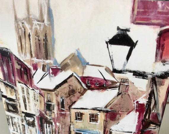 6 x Blank Christmas Greeting Cards showing Lincoln Cathedral from original Acrylic paintings