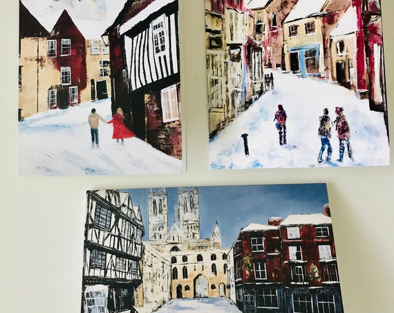 3 x Blank Christmas Greeting Cards showing Lincoln Cathedral from original Acrylic Paintings