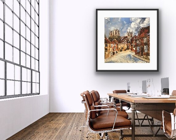 Lincoln Art Print, Christ's Hospital Terrace, Lincoln Cathedral Hand Finished