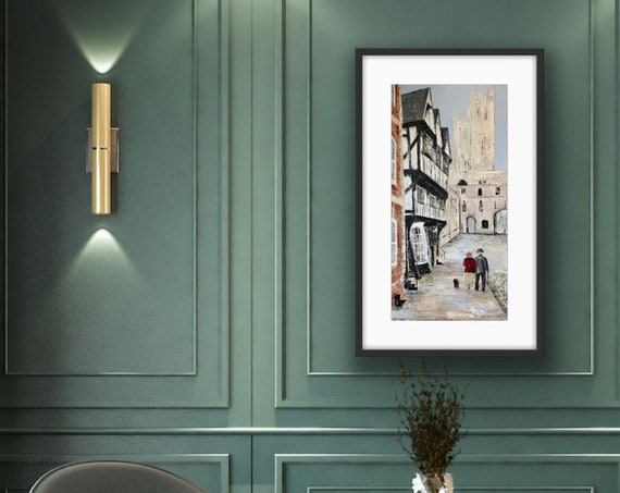A stroll in Lincoln, a Lincoln Art print, Lincoln Cathedral UK