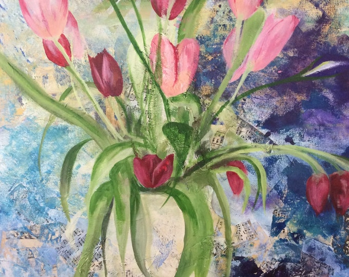 Musical Tulips a Giclee Print from an original Acrylic painting