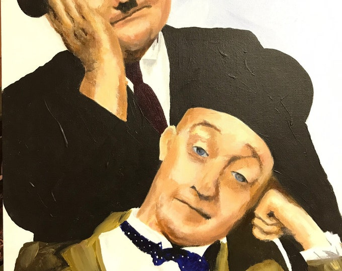 Laurel and Hardy a Giclee Print from an original Acrylic painting