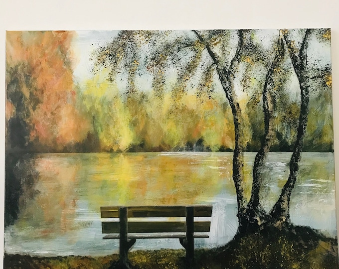 Hartsholme Country Park Bench, Lincoln a Giclee Print from an original Acrylic painting