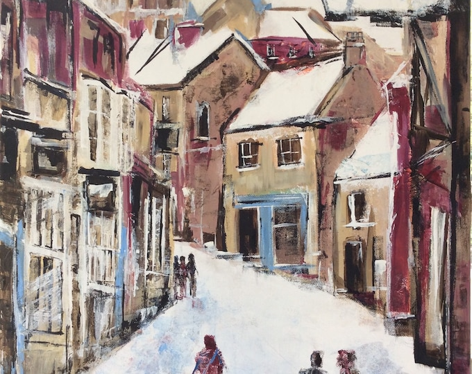 Steep Hill, Lincoln a Giclee Print from an original Acrylic painting