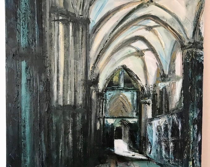 Lincoln Cathedral South Choir Aisle a Giclee Print from an original Acrylic painting