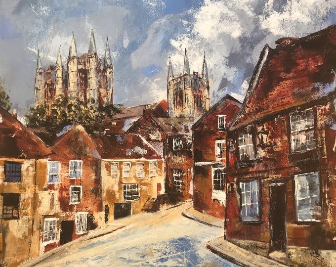 ChristHospital Terrace, Lincoln UK a hand embellished Giclee Print