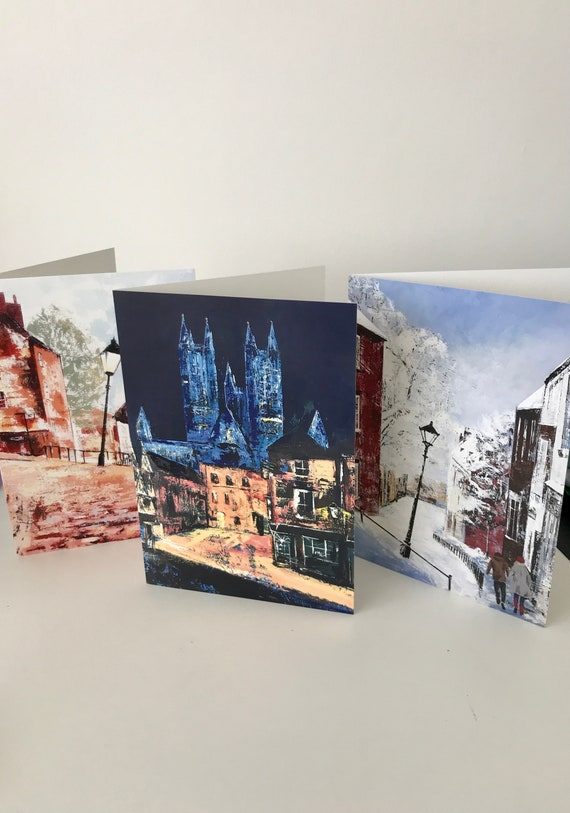 3 X Lincoln Scene Blank Greeting Cards