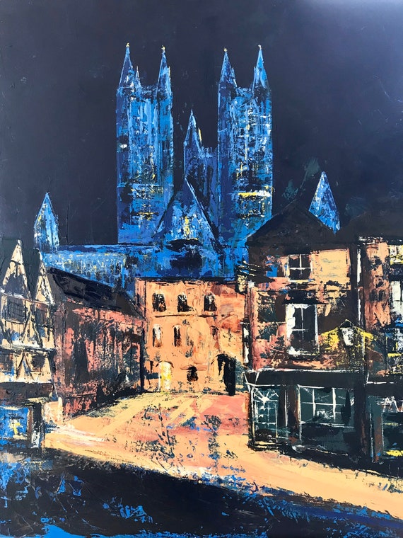 Lincoln, England. NHS Blue lit Lincoln Cathedral a Giclee Print from an original Acrylic painting