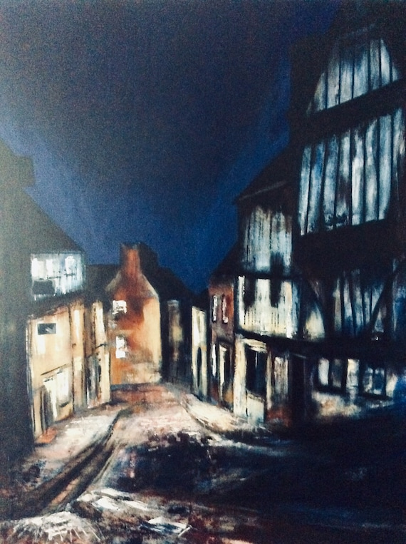 Steep Hill, Lincoln at night. Hand embellished Giclee print