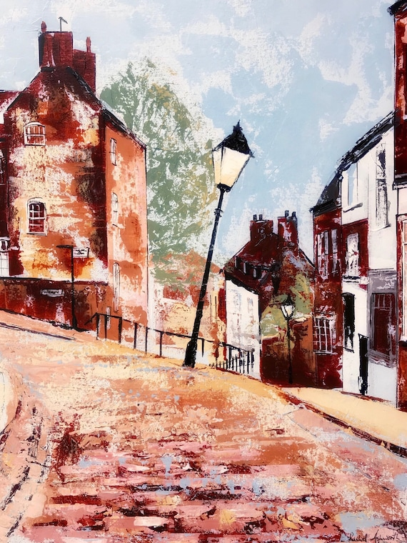 Steep Hill, Lincoln UK. A Giclee Print from an original Acrylic painting