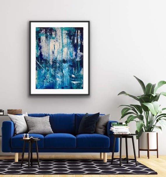 Sea Blue, a hand embellished Abstract art Print