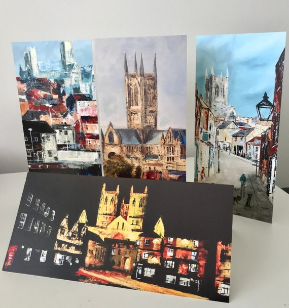 4 x Lincoln Scene Blank Greeting Cards