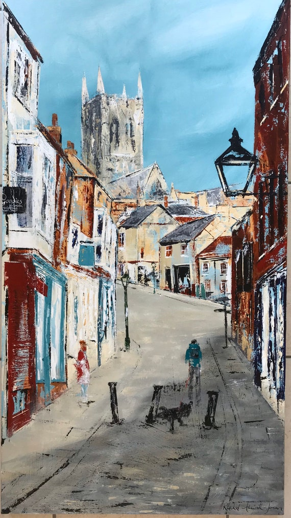 Lincoln, England. The Strait, Lincoln UK a giclee print from an original acrylic painting