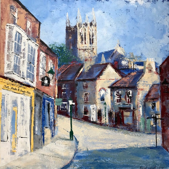 Lincoln,England. The Strait,Lincoln. An original Acrylic painting