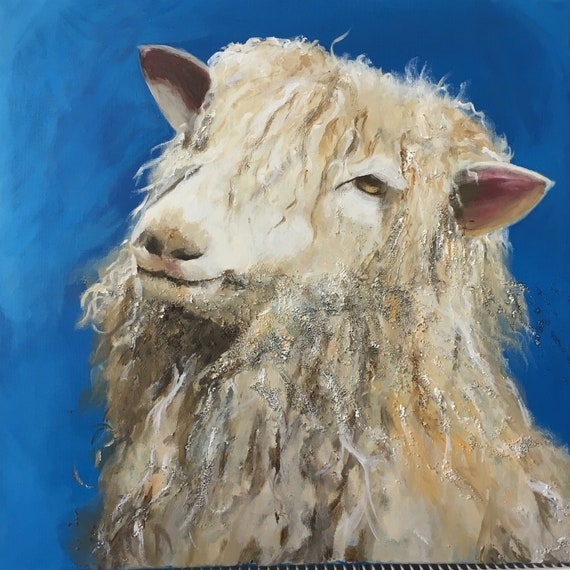Lenny the Lincolnshire Longwool Sheep a Giclee Print from an original Acrylic painting