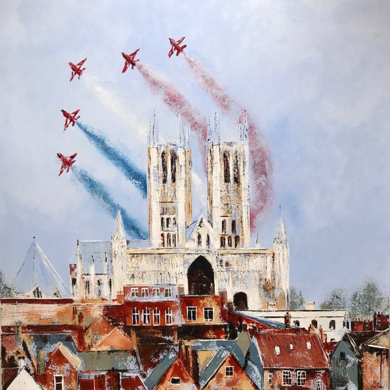 A hand finished Giclee print of the Red Arrows flying over Lincoln Cathedral