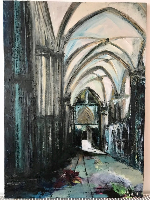 Lincoln, England. Lincoln Cathedral South Choir Aisle a Giclee Print from an original Acrylic painting