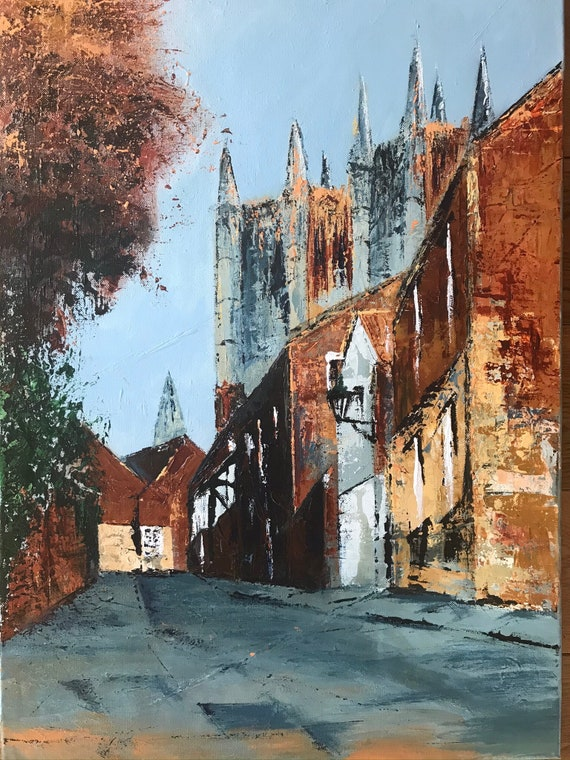 Lincoln, England. Michaelgate Lincoln a hand embellished Giclee Print from an original Acrylic painting