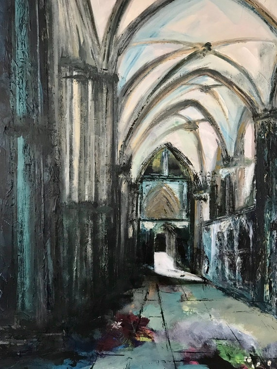 South Choir Aisle, Lincoln Cathedral. A hand embellished Giclee Print
