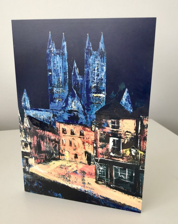 NHS BLUE LIT Lincon Cathedral Blank Greeting Card