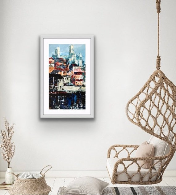 Lincoln, England. Lincoln from the Brayford a hand finished Giclee Print from an original acrylic painting