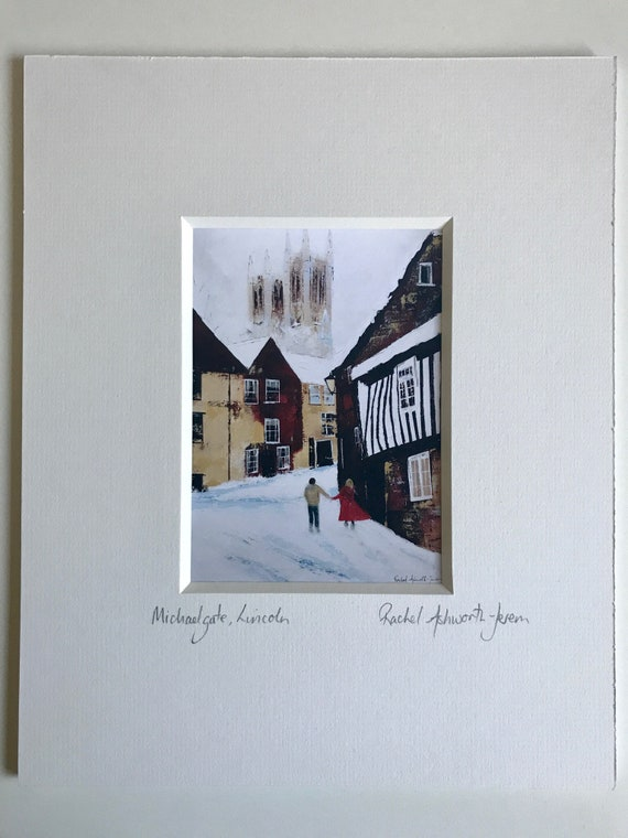 Michaelgate, Lincoln in the snow, a Postcard mounted print from an original Acrylic painting