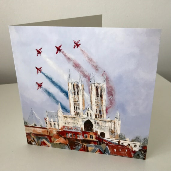 RAF Red Arrows Flying over Lincoln Cathedral Blank Greeting Card