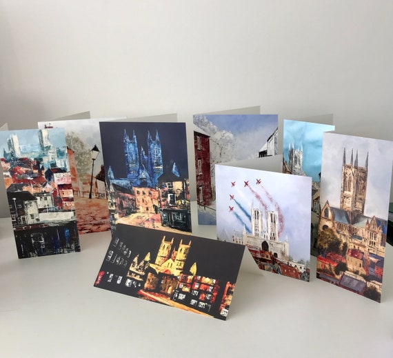 8 x Lincoln Scene Blank Greeting Cards