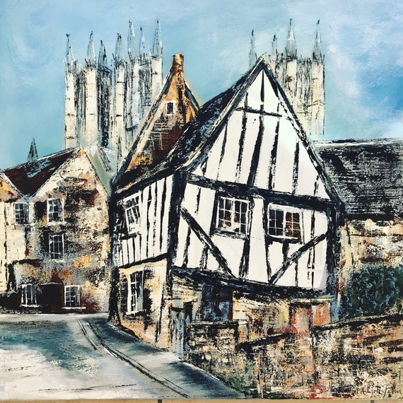Lincoln, England. Michaelgate, Lincoln a hand embellished giclee print from an original Acrylic painting