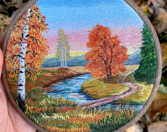 """Fall Landscape Embroidery Art Hand Embroidery Thread Painting Landscape Embroidery Hoop Art 5.5"""" by Hare in Hands"""