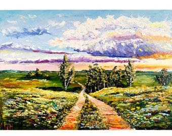 Road Painting Original Art Sunset Landscape Oil Artwork Road Wall Art Impasto Fine Art 9.4 7 by Elena Menshikova